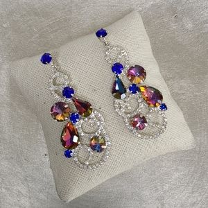 Crystal multicolored chandelier stud earrings